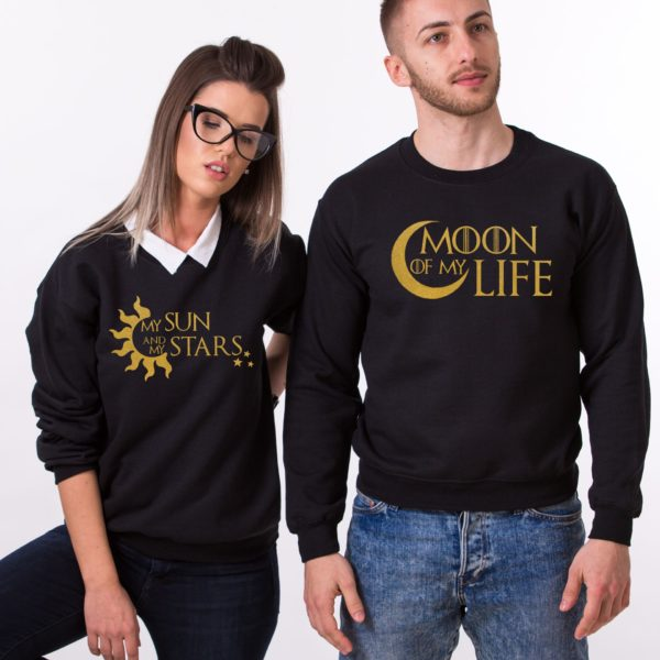 Moon of My Life, My Sun and My Stars, Sweatshirts, Black/Gold
