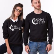 Moon of My Life, My Sun and My Stars, Sweatshirts, Black/White