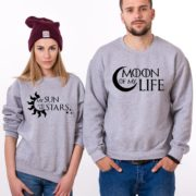 Moon of My Life, My Sun and My Stars, Sweatshirts, Gray/Black