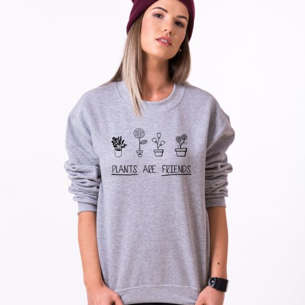 Plants are Friends, Sweatshirt, Gray/Black