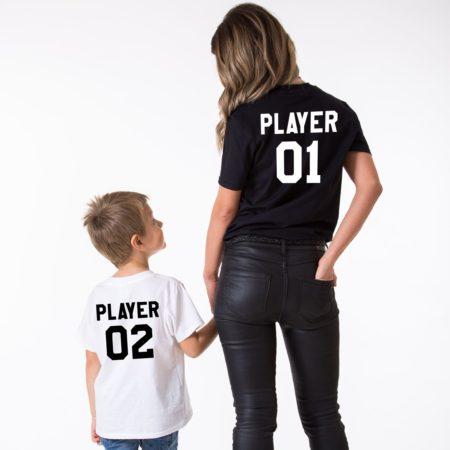 Player 01, Player 02, Matching Mother Kid Shirts