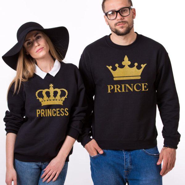 Prince, Princess, Big Crowns, Sweatshirt, Black/Gold