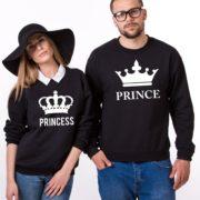Prince, Princess, Big Crowns, Sweatshirt, Black/White