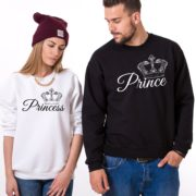 Prince, Princess, Crowns, Sweatshirts, White/Black, Black/White