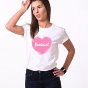 Feminist, White/Pink
