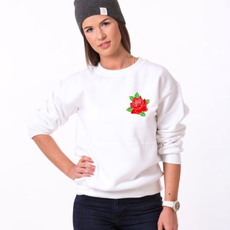 Rose Sweatshirt, Flower Sweatshirt, Pocket Rose, Unisex