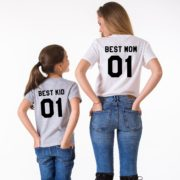 Best Mom, Best Kid, Gray/Black, White/Black