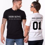 Her King His Queen, Double Sided, Matching Couples Shirts