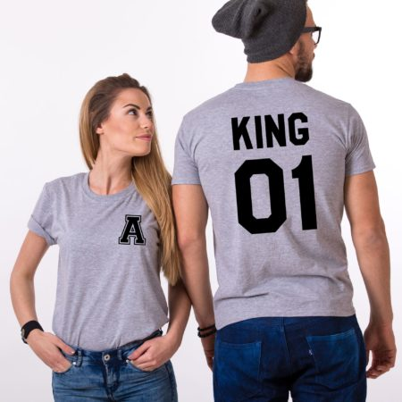 King and Queen Shirts, Pocket Initial, Matching Couples Shirts