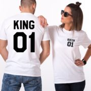 King 01 Queen 01, Pocket Number, Matching Couples Shirts