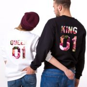 King, Queen, Floral 01, White, Black