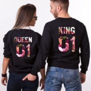King and Queen Fleur Sweatshirts, Matching Couples Sweatshirts