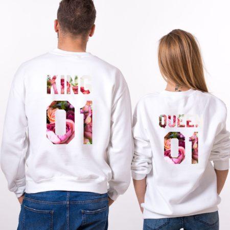 King and Queen Fleur Sweatshirts, Matching Couples Sweatshirts