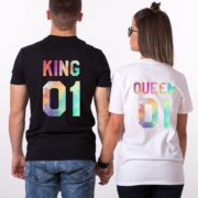King, Queen, Watercolor, White, Black