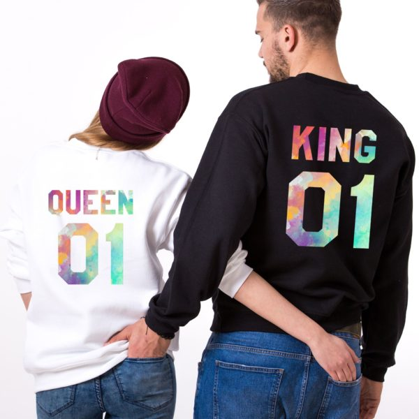 King, Queen, Watercolor 01, White, Black