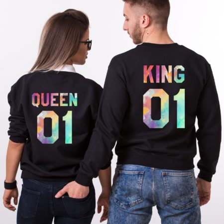 Watercolor King and Queen, Matching Couples Sweatshirts