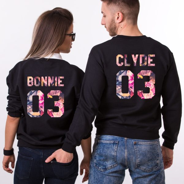 Bonnie 03, Clyde 03, Floral Sweatshirts, Black