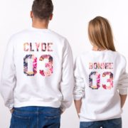 Bonnie 03, Clyde 03, Floral Sweatshirts, White