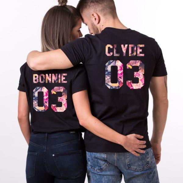 Bonnie, Clyde, Floral, Black