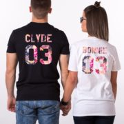 Bonnie, Clyde, Floral, Black, White