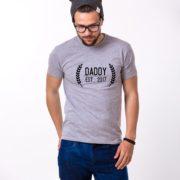 Daddy Est Wreath Shirt, Gray/Black