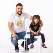 Super Dad, Super Kid Shirts, White/Gold, Black/Gold
