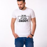 The Man The Myth The Legend Daddy Shirt, White/Black