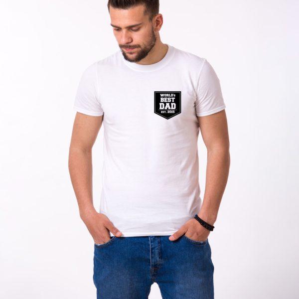 World's Best Dad Shirt, White/Black