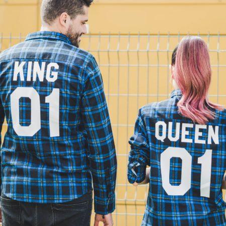 King Queen Plaid Shirts, King 01 Queen 01 Plaid Shirts, UNISEX
