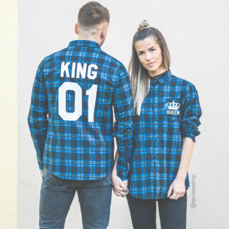 King 01 Queen 01 Blue Plaid Shirts, Matching Plaid Shirts, UNISEX