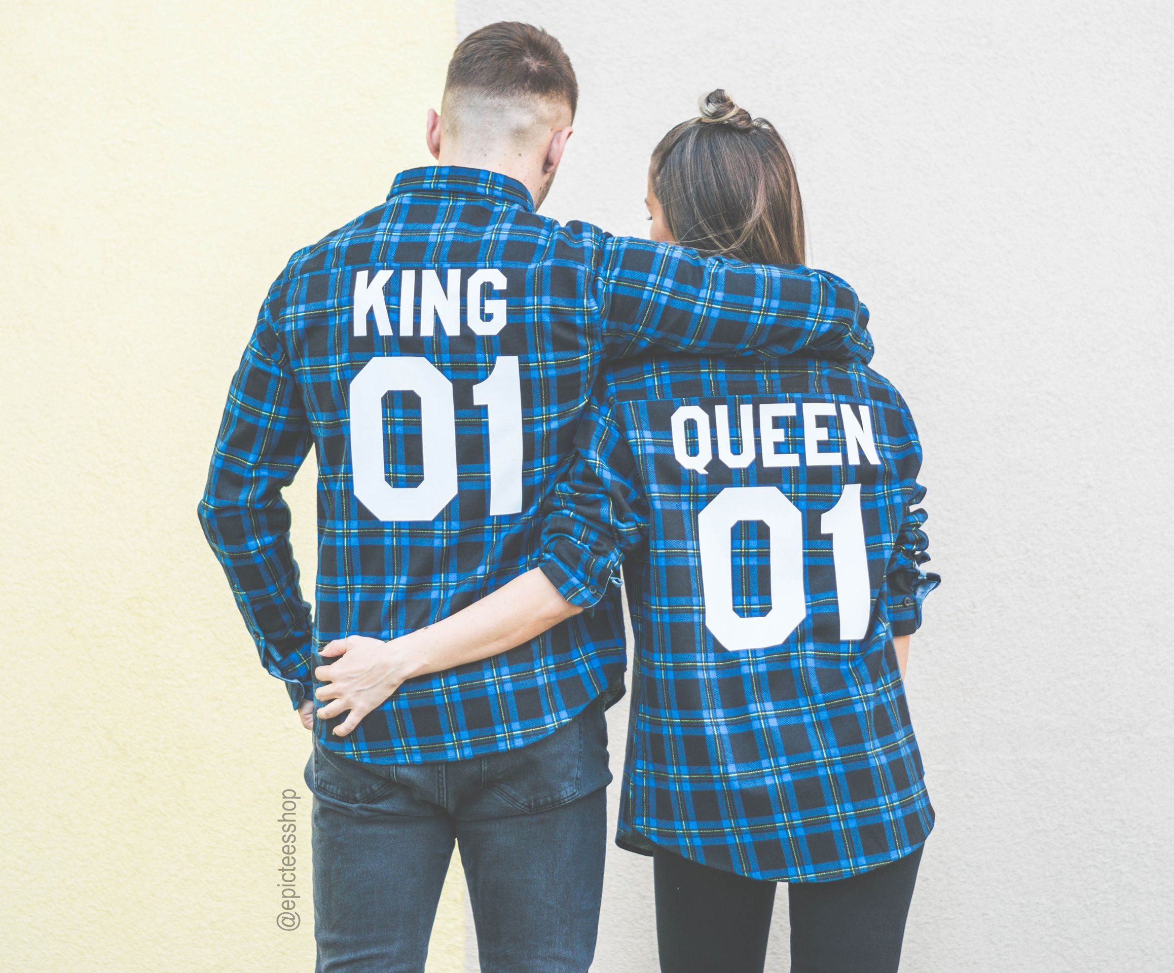 King 01 Queen 01 Red and Blue Flannel Shirts, Flannel Shirts for Couples, Red Flannel Shirt, Flannel Shirts, Matching, UNISEX