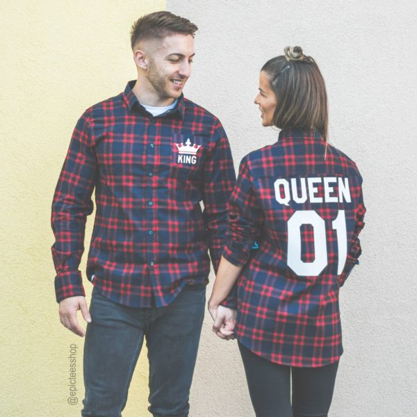 Red Plaid Shirts, King 01, Queen 01, Front/Back
