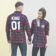 Red Plaid Shirts, King 01, Queen 01, Back/Front