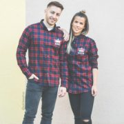 Red Plaid Shirts, King 01, Queen 01, Front