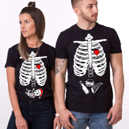 Christmas Maternity Shirts, Skeleton Shirt, Matching Couples Shirts
