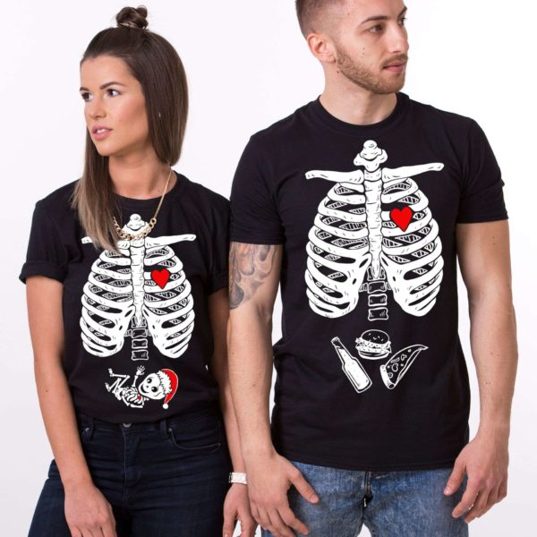 Christmas Maternity Couple Shirts, Black