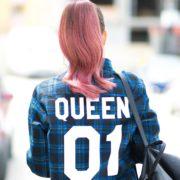Blue Plaid Shirt, Queen 01, Back