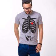 Skeleton and Food Shirt, Gray