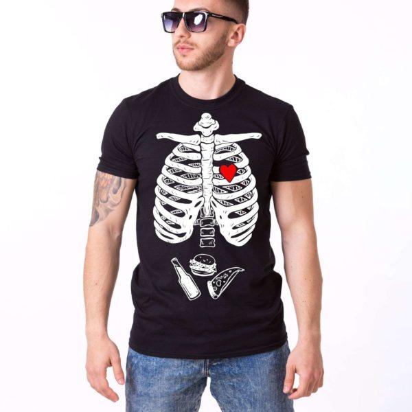 Skeleton and Food Shirt, Black