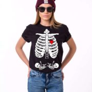 Maternity Twins, Skeleton Shirt, Black