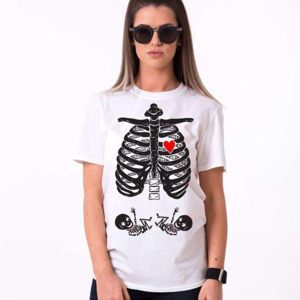 Maternity Twins, Skeleton Shirt, White