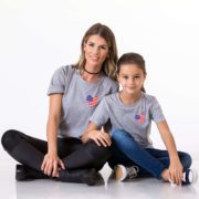 American Flag Pocket, Mommy and Me, Gray