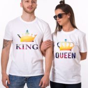 King and Queen Tropical Shirts, Crowns, Matching Couples Shirts
