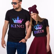 King and Queen Galaxy Shirts, Crowns, Matching Couples Shirts