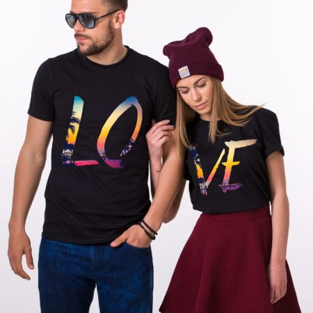 Couples Tropical Shirts, LOVE, Matching Couples Shirts