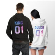 King Queen Galaxy Hoodies, Matching Couples Hoodies