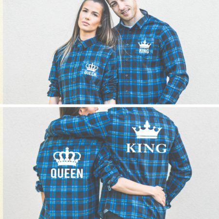 King Queen Crowns, Matching Plaid Shirts, UNISEX
