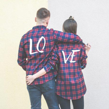 LOVE Plaid Shirts, Matching Plaid Shirts, UNISEX