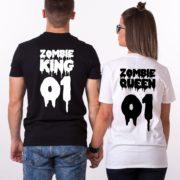 Zombie King Queen 01, Halloween Shirts, Matching Couple Shirts