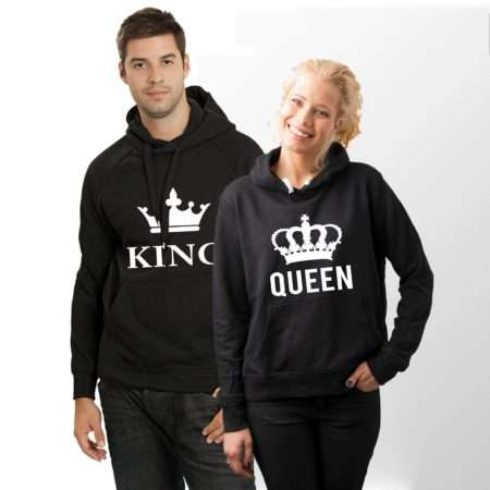 King Queen Big Crowns Hoodies